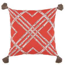 pillow with tassels. pillows - bamboo print indoor/outdoor pillow with tassels \u2014 melon red \u0026 taupe h