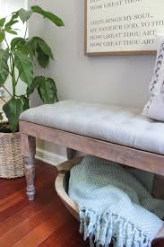 diy gray tufted bench with white washed weathered wood base
