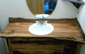 wooden sink basin beautiful wood bathroom custom vanities with tops under round mirror full cabin wooden bathroom sink