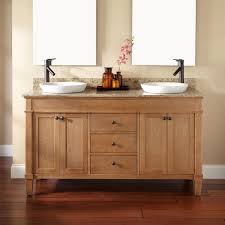 natural oak allen and roth vanity with 3 drawers and double sink for bathroom furniture ideas