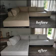 off white leather sectional color changed to bright white before and after