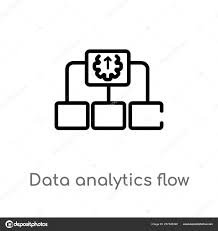 Outline Data Analytics Flow Chart Vector Icon Isolated Black