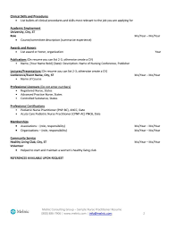 Nurse Practitioner Sample Resume For Job Seekers Melnic