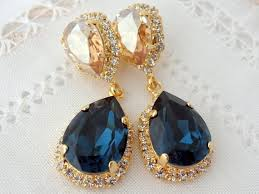 navy blue earrings champagne earrings chandelier earrings navy blue bridal earrings blue bridesmid gift dangle drop