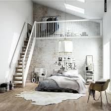 Interior:Vintage Exposed White Brick Wall Bedroom Interior Design With Mezzanine  Level Also Grey Bedding