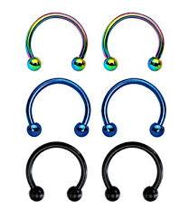 Bodyj4you 6 Pieces Of 16 Gauge Electro Horseshoe Circular Barbell 3 Pairs