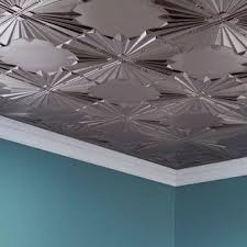 Fasade Art Deco Brushed Nickel 2 Ft. X 4 Ft. Glue Up Ceiling