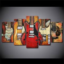 guitar canvas wall art red
