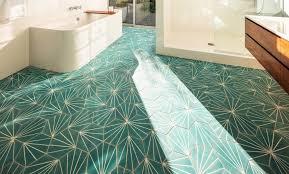 bathroom with decorative turquoise ceramic floor tiles nonagon style