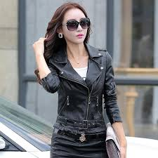 spring and autumn women leather clothing women s short design fashion motorcycle leather jacket outerwear red coat woman