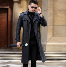 winter slim motorcycle long leather coats men casual double ted coat mens leather trench coats lapel black fashion m 3xl