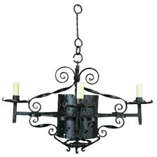 1920s handmade wrought iron chandelier for