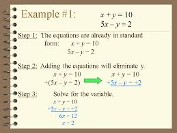 example 1 x y 10 5x y 2 step