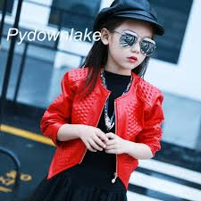 girls faux leather jacket for 2017 children fashion red black spring long sleeve nail design 3 12y girls pu leather jacket kids coat girls jacket