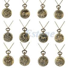 whole vintage men women chinese zodiac snake dog tiger quartz pocket watch necklace watch necklace pocket watch necklace pocket watch with