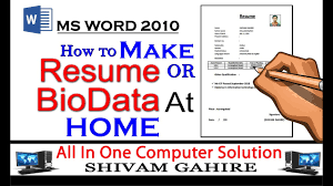 How To Make Resume Or Biodata In Ms Word Youtube