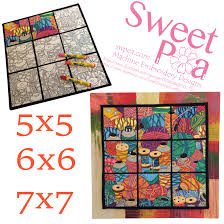 Sweet Pea Embroidery Designs Painted Thread Wall Hanging 5 X 5 6 X 6 7 X 7 In The Hoop Machine
