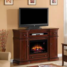 classicflame montgomery 58 inch electric fireplace media console with traditional log set vintage cherry