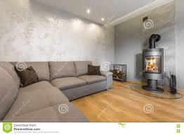 Living Room Decorative Living Room With Decorative Wall Plaster Idea Stock Photo Image