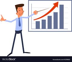 Chart Cartoon Cartoon Businessman Presents Growth Chart