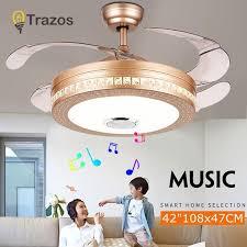 2019 trazos modern ceiling fans bluetooth remote control white plastic blade bedroom 220v ceiling fan decor ventilateur de plafond from biaiju