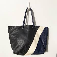 obdulia tote ping bag navy black white buffalo leather inside pockets zip closure