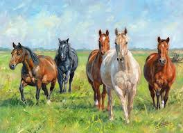horse painting wild horses by david stribbling