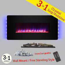 wall mount freestanding convertible electric fireplace heater in gold with pebbles