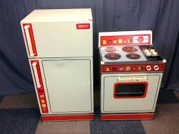 stove and refrigerator set. vtg wolverine rite hite childs size metal stove refrigerator kitchen play set and sets a