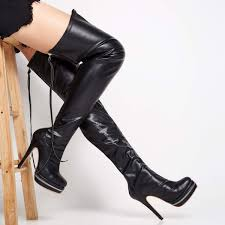shoespie y back zipper genuine leather over knee high sti boots