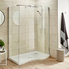 premier pacific curved walk in shower enclosure 1395mm x 900mm excluding tray