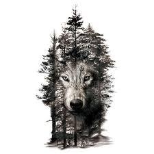 Vodotěsné Vlčí Hlava Stromy šedá Lesní Body Art Dočasné Tetování Tetování Samolepky Body Samolepka At Vova