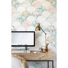 Pastel Marble Traditional Non-woven ...