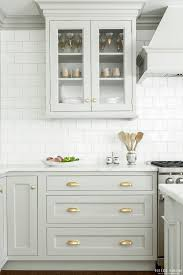 Kitchen Cabinets Hardware Look We Love Gray Kitchen Cabinets With Brass Hardware Gray