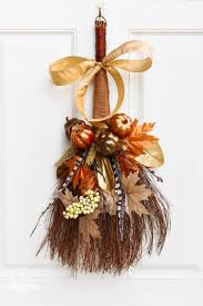 cinnamon broom decorating ideas rustic fall cinnamon broom wreath thrift store upcycle