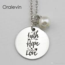 whole faith hope love inspirational hand stamped engraved accessories custom pendant necklace gift fashion jewelry 18inch 22mm ln1717 round pendant
