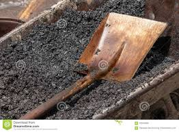 Shovel Was Laid On The Asphalt Stock Image Image Of