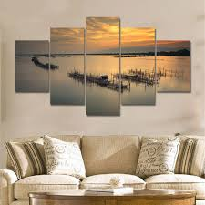 Small Picture 5 Pieces Modern Sunrise Sunset Seascape Wall Art Large Canvas