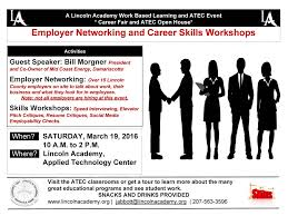 employer networking and career skills workshop lincoln academy wbl job fair poster 3 19 2016