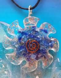 details about large orgone lapis lazuli crystal and copper flower of life pendant