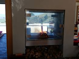 double sided square glass fireplace