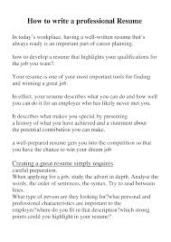 Writing A Perfect Resume – Resume Sample