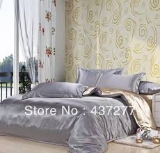 luxurious patchwork bedding sets silver grey camel color imitated silk fabric quilt duvet cover bed sheet pillowcase bed linen modern bedding damask