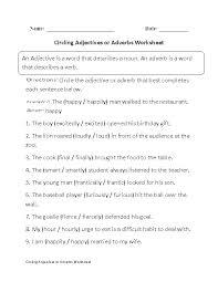 Adjective Worksheets 6th Grade Adverb Worksheets Grade Adjective ...