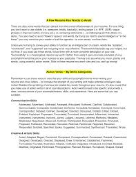 Action Words For Resume Writing Resume Template Sample