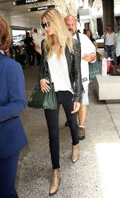 rosie huntington whiteley leather jacket white tee saint lau bag