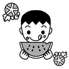 スイカを食べる男児のイラスト 無料イラスト素材素材ラボ