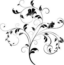 花のイラストフリー素材白黒モノクロno385白黒茎葉つる