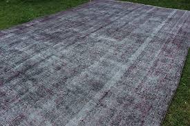 12 x 8 ft grey overdyed rug antique dyed rug turkish handknotted rug oversize