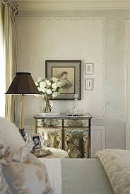feminine bedroom furniture bed: feminine bedroom mirrored nightstand mirror silk drapes antiqued mirrored chest and blue bedding